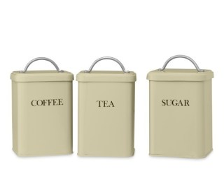 Retro Tea, Coffee & Sugar Canisters, Set of 3