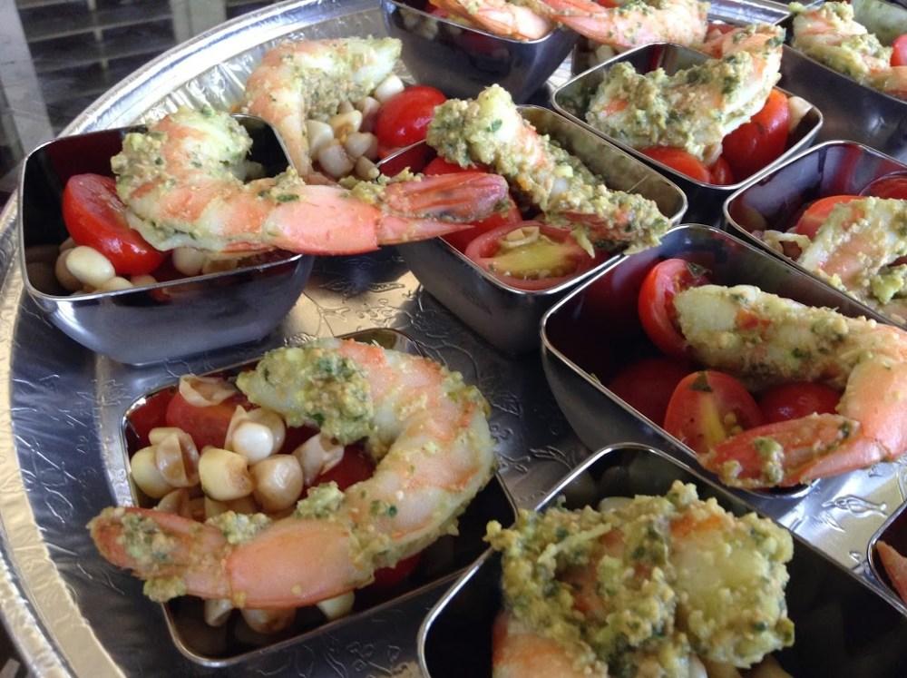 Tapas Party: Basil-Marinated Shrimp with Corn and Tomato Salad