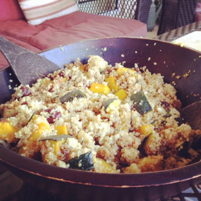 Tapas Party: Quinoa Salad with Roasted Kambocha Squash, Dried Cherries, Toasted Pine Nuts and Balsamic