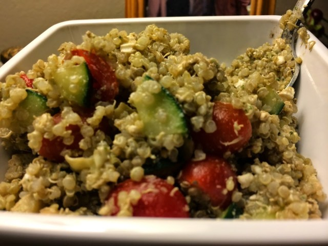 Greek Quinoa Salad with Garlic-Arugula Pesto
