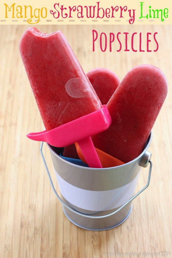 Mango Strawberry Lime Popsicles – Guest Post from Cupcakes and Kale Chips