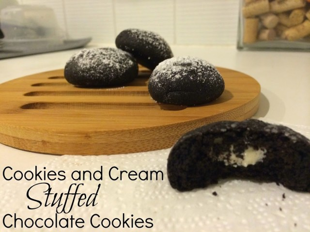 Cookies and Cream Stuffed Chocolate Cookies