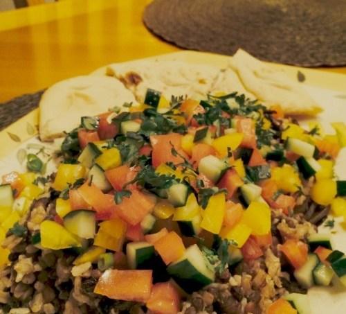 Mujadara with Lebanese Salata #SundaySupper