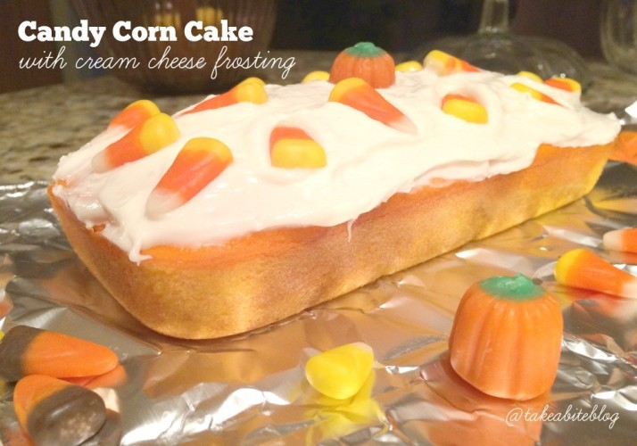 candy corn cake with cream cheese frosting