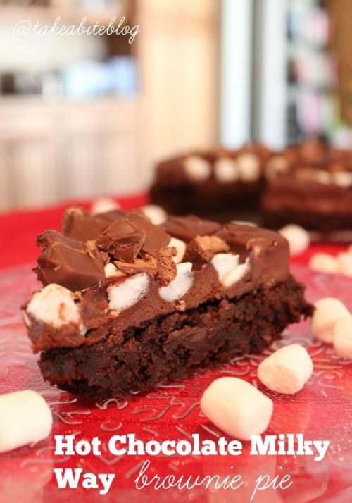 Hot Chocolate Milky Way Brownie Pie #SundaySupper