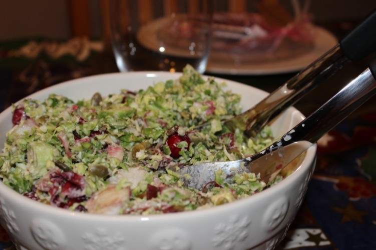 Shredded Brussels Sprouts and Endive Slaw with Champagne Vinaigrette