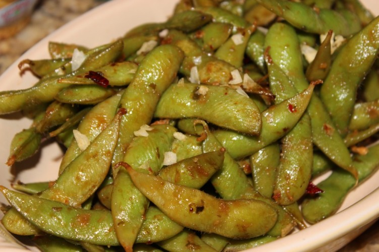 spicy charred edamame with ginger and chili pepper