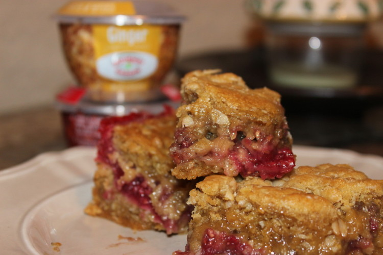 Oatmeal Cookie Bars with Raspberry-Ginger Filling