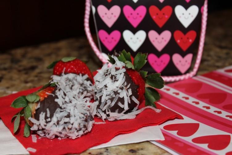 dark chocolate and coconut-covered strawberries #valentinesday