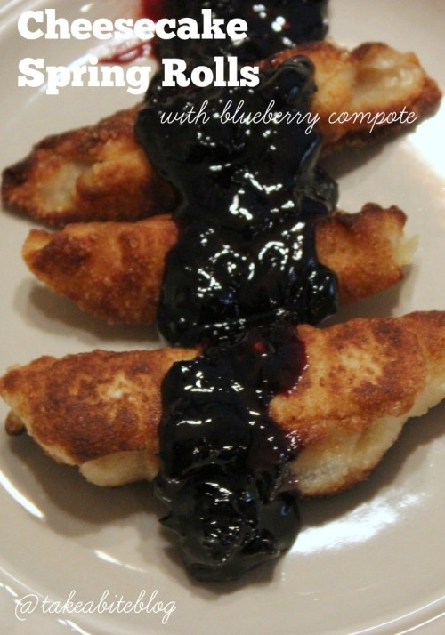 Cheesecake Spring Rolls with Blueberry Compote #BlueberryCheesecake