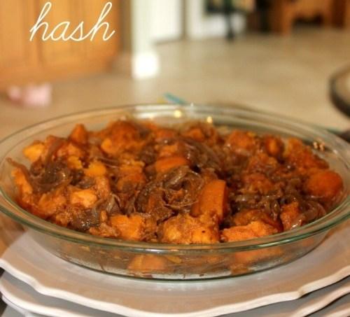 Caramelized Onion and Sweet Potato Hash #BrunchWeek