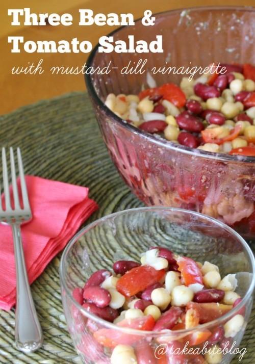 Three Bean and Tomato Salad with Mustard-Dill Vinaigrette #gourmetgarden