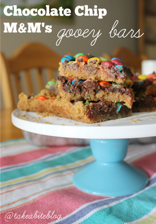 Chocolate Chip M&M's Gooey Bars #LeftoversClub