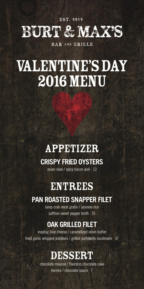 2016 Valentine's Day Menu
