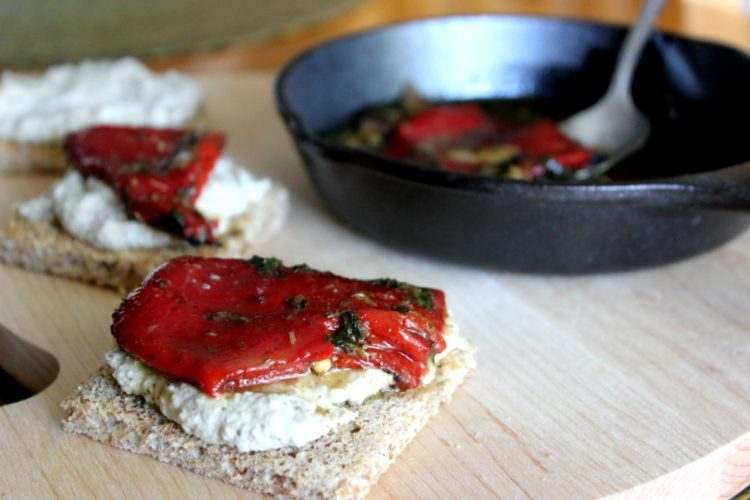 Roasted Eggplant and Piquillo Pepper Toasts #SundaySupper