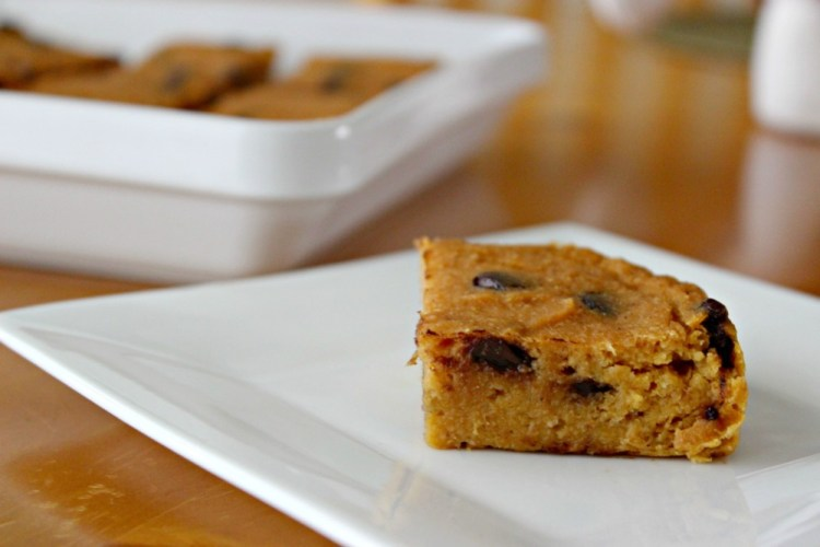 Pumpkin Chocolate Chip Cake Squares #StonyfieldBlogger
