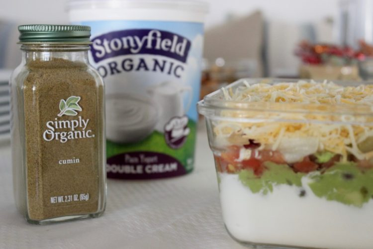 Six-Layer Vegetarian Taco Dip with Stonyfield Organic Greek Yogurt