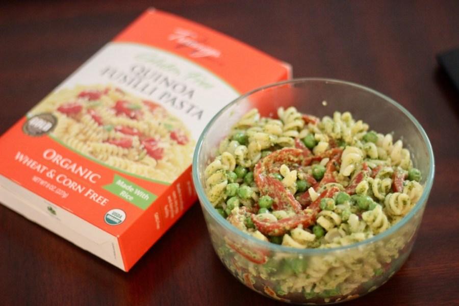 Gluten-Free, Vegan Christmas Pesto Pasta Salad