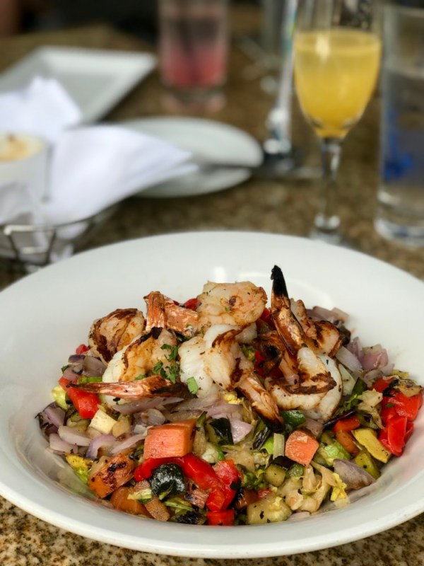 Henry's Delray, Chopped Vegetable Salad with Grilled Shrimp
