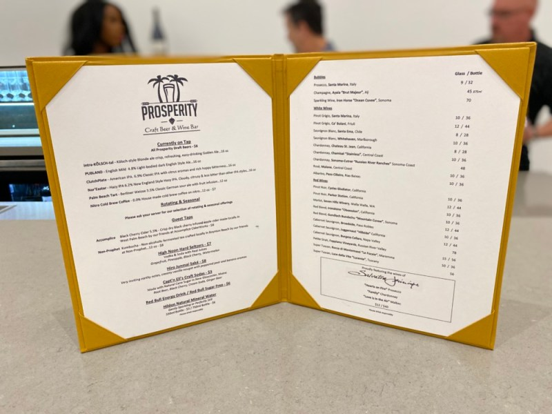 Prosperity Craft Beer & Wine Bar Town Center, Drink Menu