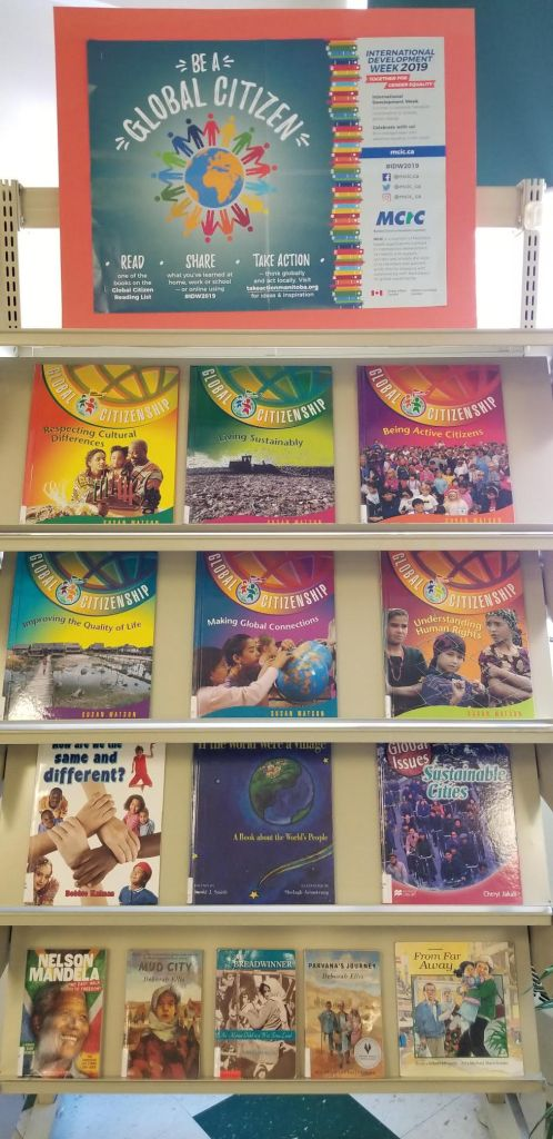 A display at Daerwood School in Selkirk, Manitoba with suggested books on global topics.