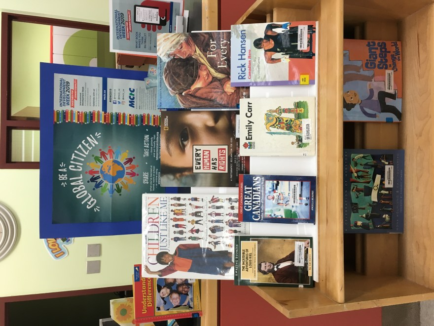 A display at Kelsey Community School in The Pas, Manitoba with suggested books on global topics.