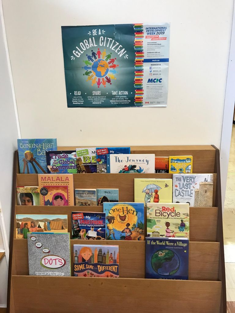 A display at Whitmore School in Dauphin, Manitoba with suggested books on global topics.