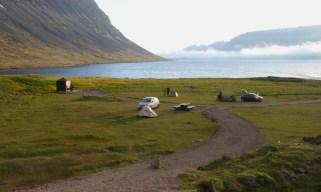 Free camping at the base of Dynjandi Falls