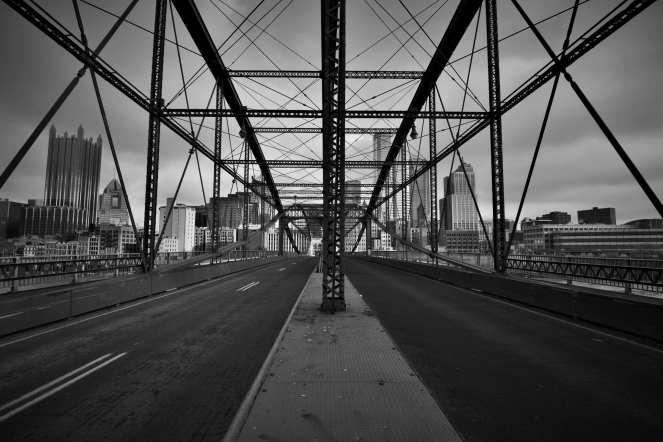 Smithfield St Bridge Downtown Pittsburgh black and white