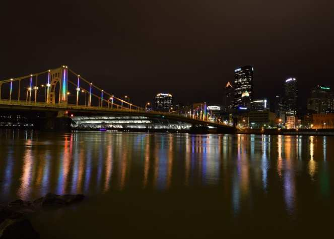 pittsburgh rainbow bridge lights downtown