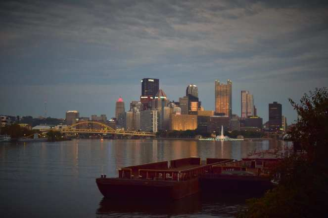 pittsburgh downtown evening coal barge faded