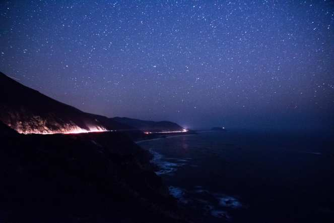Milky Way galaxy over Big Sur California. Pacific Ocean. Waves. Constellations. Stars. Starry night. Dark sky. Dark skies. long exposure.