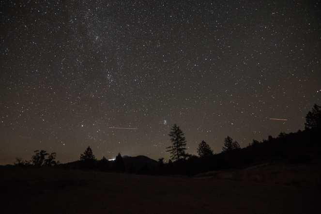 Milky Way Pleiades seven sisters pine tree silhouettes