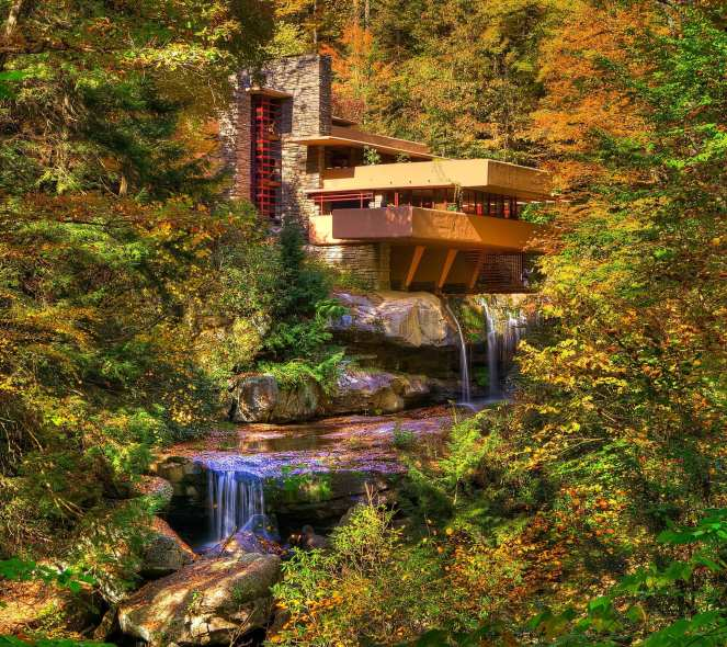 Fallingwater house designed by Frank Lloyd Wright surrounded by the Laurel Highland fall colors near Ohiopyle State Park