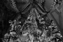 black and white bone chandelier human skulls bones cherubs and candles