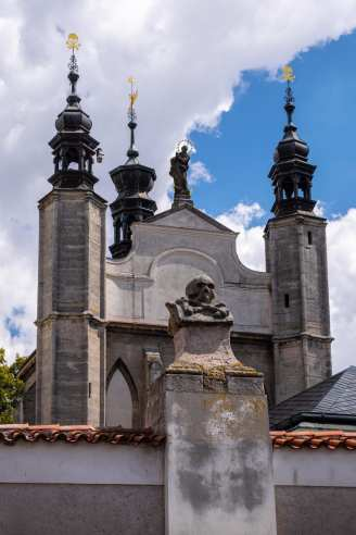 Sedlec ossuary skull wall church exterior in color