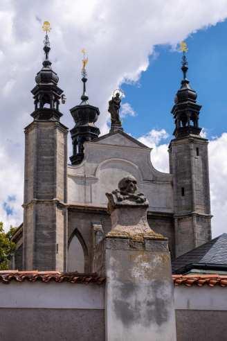 Sedlec ossuary skull wall church exterior in color