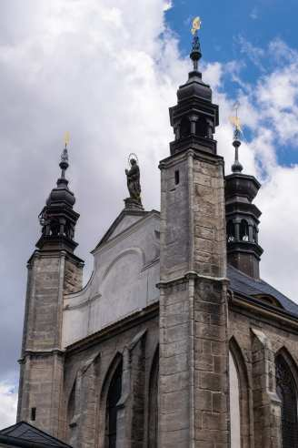 Sedlec Ossuary church exterior in color
