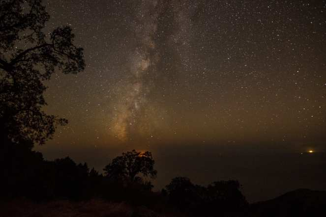 The Milky Way shines brightly in a sky full of stars over Big Sur, Live Oak trees, and the Pacific Ocean