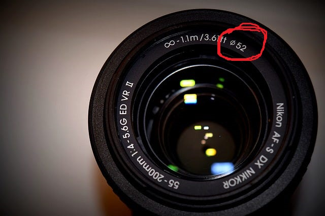 Nikon lens opening showing the filter size, zoom range, focal range, and more.