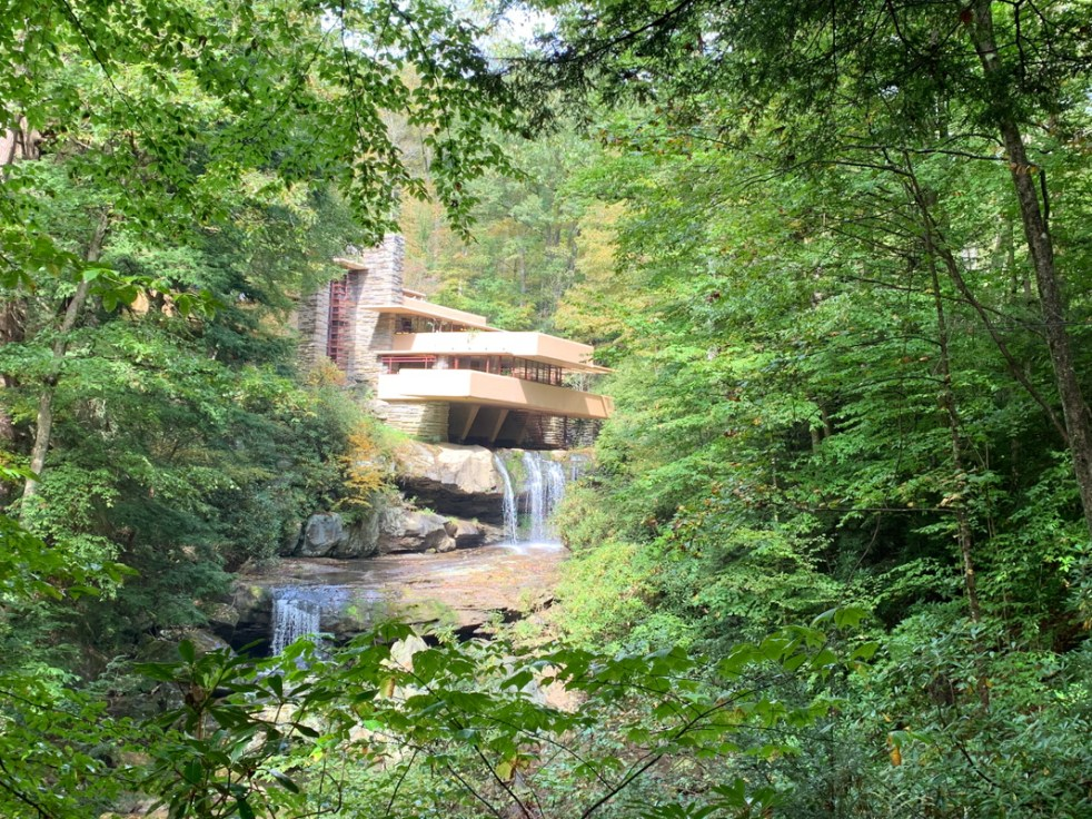 Frank Lloyd Wright house Fallingwater viewed from the vista point