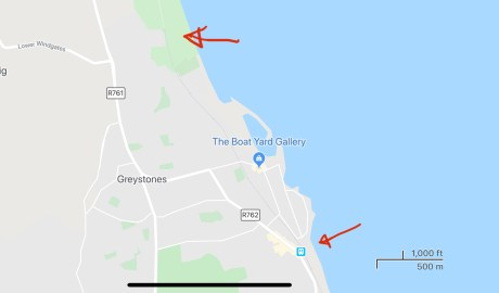 Map of Greystones Ireland, showing the trail head of the coastal cliff walk in relation to the metro station