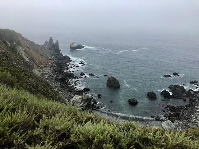 Heavy fog blankets the Pacific coastline in Big Sur California