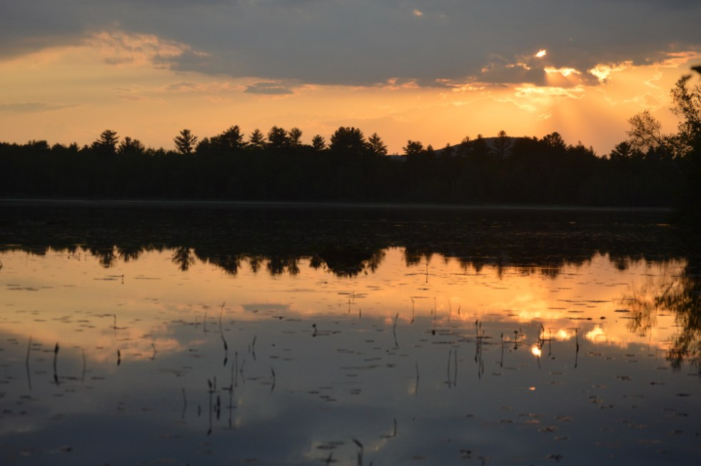 The setting sun casts a beautiful golden sheen over Rock Haven Lake in rural southern Maine