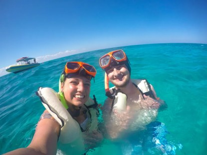 The author Colin and his wife from Dare to Everywhere swimming & snorkeling