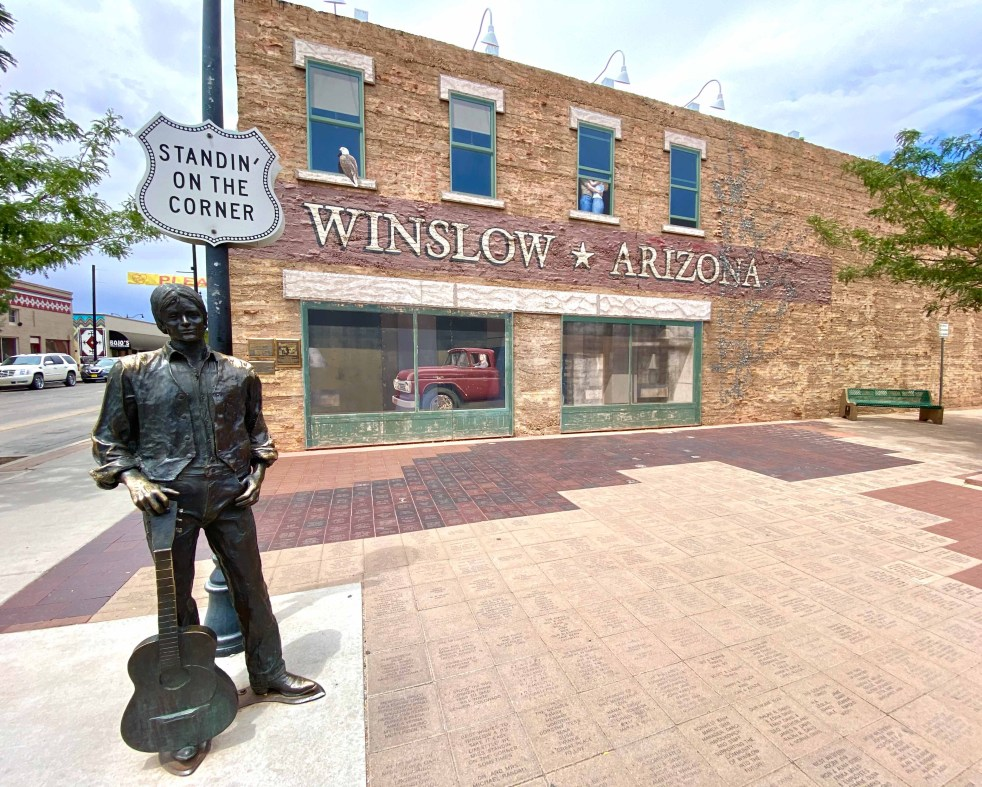 Statue of the Eagles song winslow arizona standing on the corner