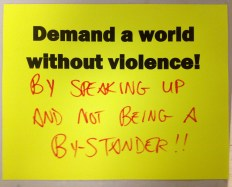By speaking up and not being a by-stander!!