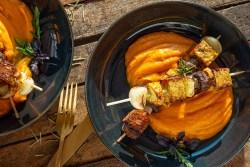 Vegane Grillparty: Temphe-Gemüsespieße auf Süßkartoffelpüree Martina Bacher
