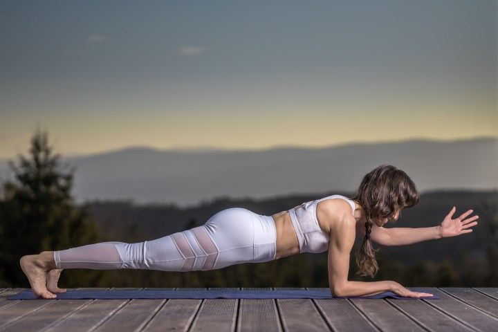 Plank and left arm up
