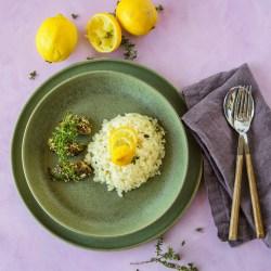 Zitronen-Risotto & Erbsenkürbis